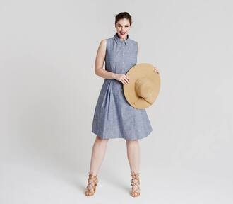 dress chloe marshall model plus size curvy blue dress midi dress hat sandal heels sandals nude sandals