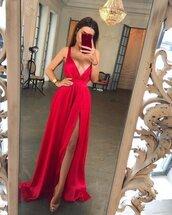dress,red dress,red slit prom dress deep v neck open back terrain long,sexy formal dress,long dress,red,red carpet dress,v neck,v neck dress,slit dress,slit