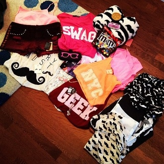 shirt geek swag moustache top colours shorts tank top