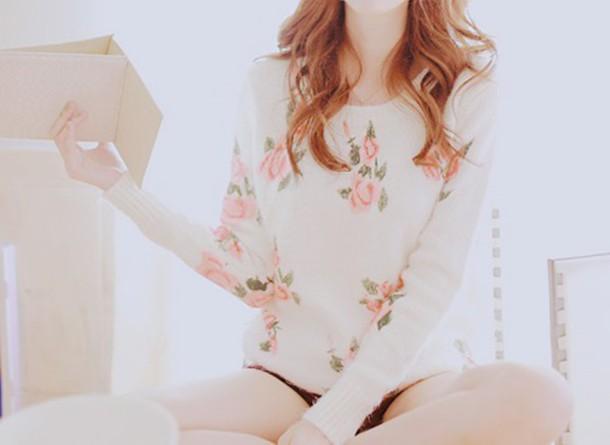sweater flowers kfashion korean fashion asian asian fashion