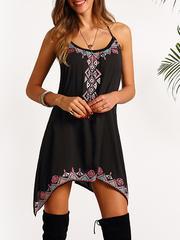 Black Keyhole Back Tribe Print Asymmetric Cami Dress
