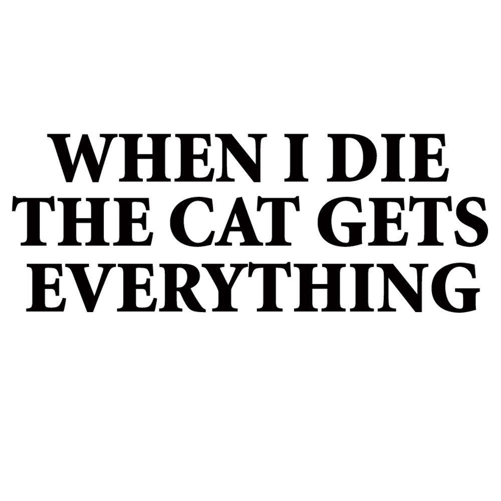 WHEN I DIE THE CAT GETS EVERYTHING funny t shirt BlackSheepShirts