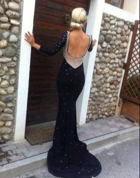 dress prom dress long sleeves lowcutback sexy dress