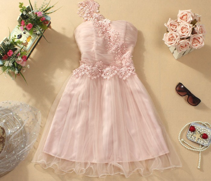 Cute And Beautiful One-Shoulder Mini Evening Party Prom Bridesmaid Wedding Dress - Pink on Luulla
