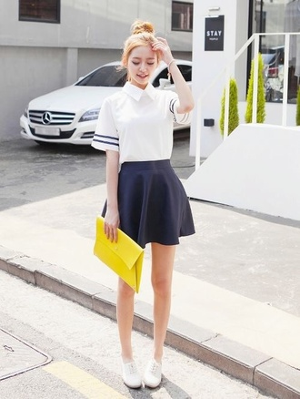top t-shirt blue white blue skirt skater skirt crop tops bag yellow blue skater skirt kawaii shoes girly cute collar white top stripes striped top white crop tops clutch kfashion ginger dress