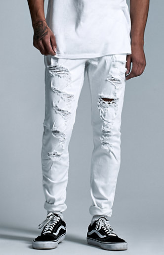 Denim Co. White Destroyed Skinny Jeans at PacSun.com