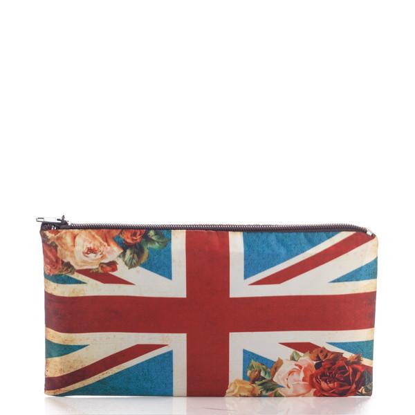 bag roses flowers blue red ziziztime union jack great britain flag vintage