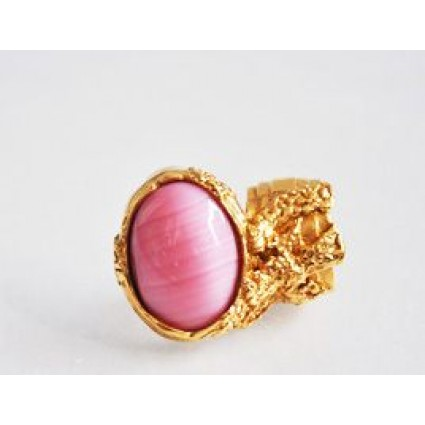 Yves Saint Laurent Pink Stone Gold Arty Ring | Portero Luxury