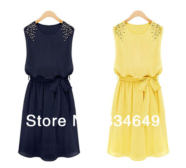 Womens Fashion Chiffon Pleated Bow Sleeveless Shoulder Beads Dress FREE SHIPPING #5488 | Amazing Shoes UK