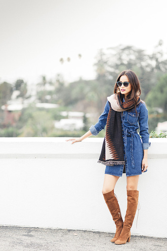 dress denim denim dress fall dress fall outfits jamie chung boots scarf blogger shoes sunglasses