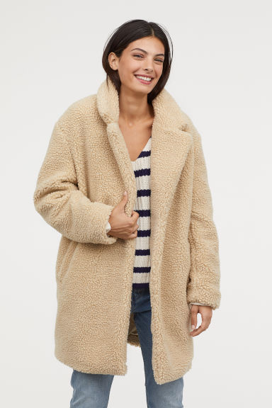 Short Pile Coat - Light beige - Ladies | H&M US