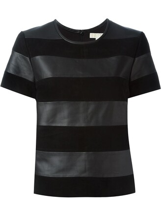 t-shirt shirt striped t-shirt women black top