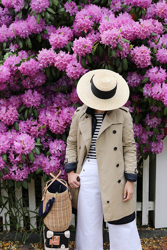 coat tumblr trench coat pants white pants hat sun hat palazzo pants bag woven bag
