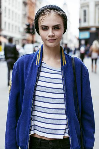 jacket cara delevingne blue jacket