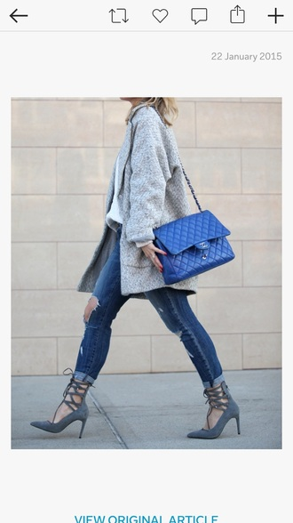 shoes grey shoes blue bag denim grey coat street fashion high heels grey heels smart casual high-heels strappy heels
