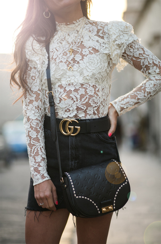 top tumblr white lace top lace top white top skirt mini skirt black skirt denim skirt denim bag black bag gucci gucci belt jewels