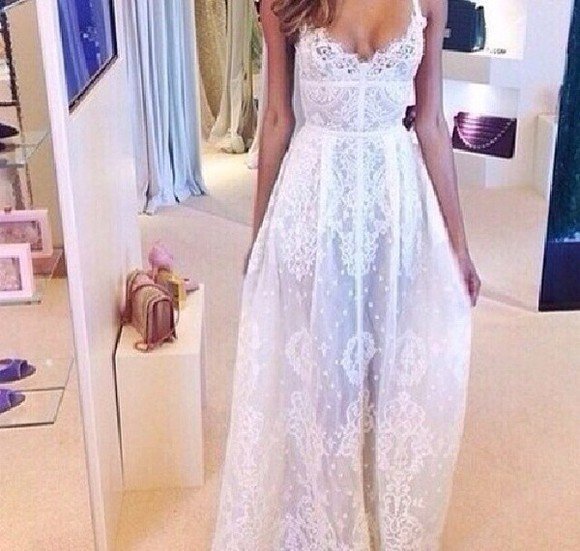 dress long dress lace dress maxi dress white dress summer dress