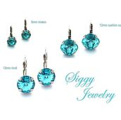 jewels,siggy jewelry,earrings,blue,turquoise,aqua,crystal earrings,bling,cushion cut,swarovski,bridesmaid,light blue,drop earrings,round earrings,gift ideas,trendy,sparkle,fashion,fashionista,etsy,hand made