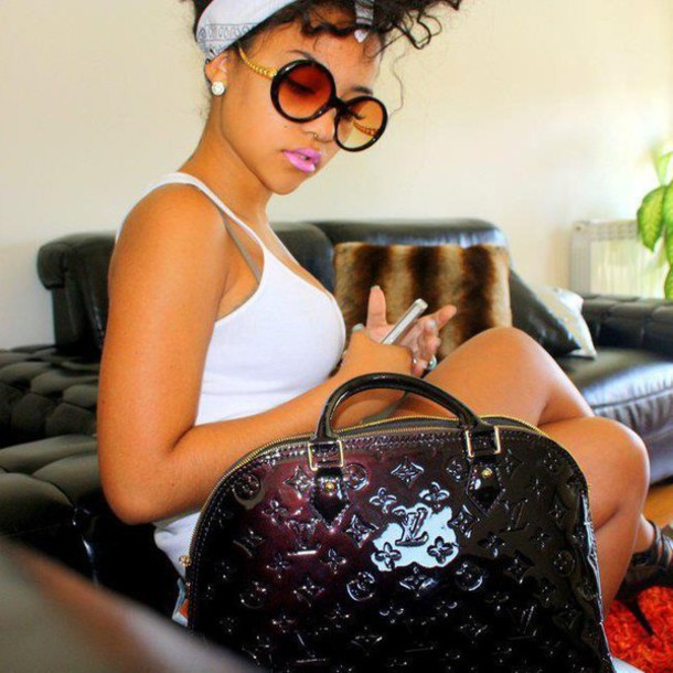 louis vuitton headband. sunglasses bag lv curly hair swag earrings diamonds headband louis vuitton piercing pink lipstick bandana o