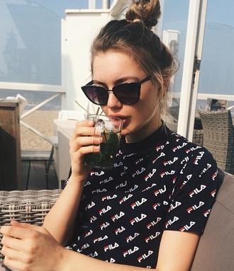 sunglasses model black sunglasses sofia ricchie bun t-shirt fila black summer shirt cute girl
