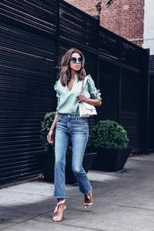 vivaluxury - fashion blog by annabelle fleur: nyfw mini moment,blogger,top,sunglasses,bag,jeans,shoes,tumblr,white bag,blue top,v neck,denim,blue jeans,sandals,sandal heels,high heel sandals,white sandals