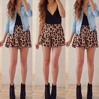 skirt top jeans lepoard print shoes