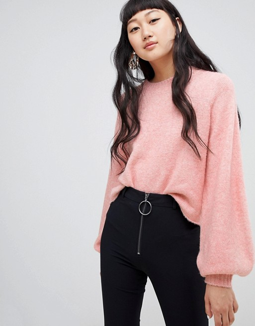 Weekday balloon sleeve knit in pink at asos.com