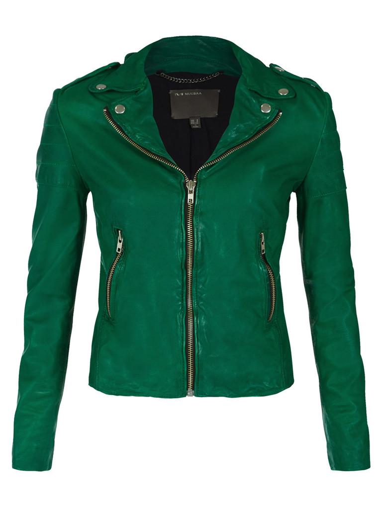 Muubaa presley leather biker jacket in green