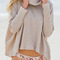 Apricot turtleneck slit back sweater -shein(sheinside)
