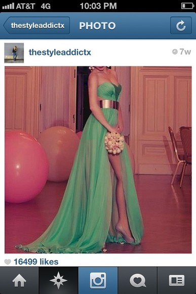 dress green dress long prom dresses gold belt beautiful