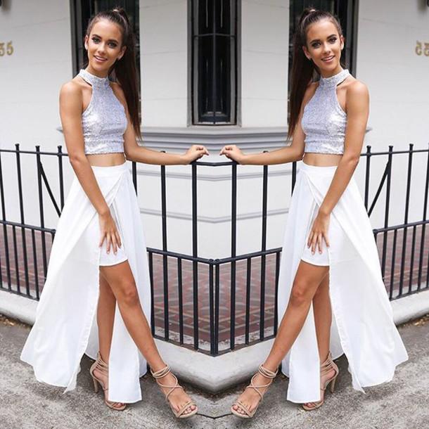 2ca17101c48c09 skirt formal set formal skirt formal top prom set prom skirt silver sequin  sequin top white