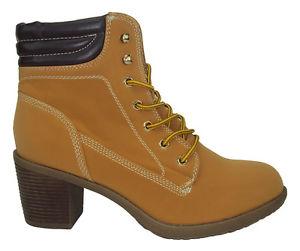 Wild Diva Women High Heel Ankle Work Boots Beige Tan Suede ... 2d40ee353e