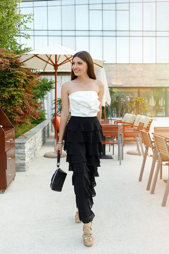 top tumblr white top tube top pants black pants wide-leg pants ruffle sandals sandal heels wedges wedge sandals bag black bag shoes