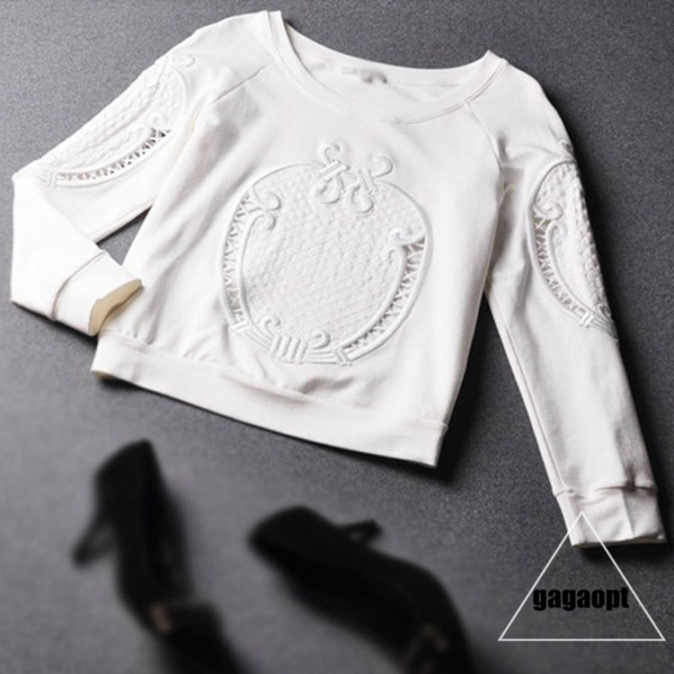 Aliexpress.com : buy 2014 gagaopt new fashion white color flower hollow out fleece women pullovers hoodies autumn sweater shirt for female from reliable women book suppliers on gagaopt88