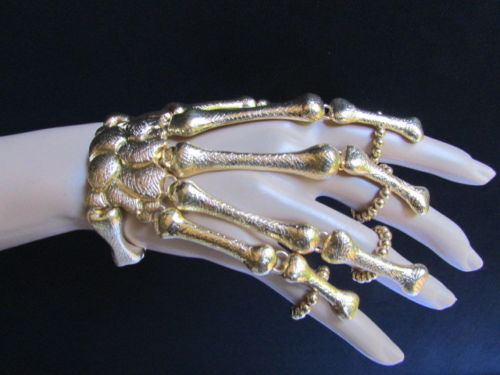 Women Gold Multi Fingers Metal Hand Chain Skeleton Fashion Slave Bracelet Rings | eBay