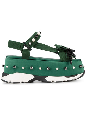 women sandals platform sandals cotton green shoes