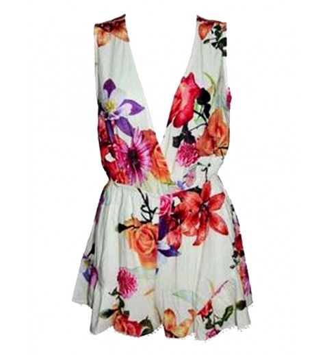 Sleeveless Floral Playsuit - Jumpsuits & Playsuits - Clothing
