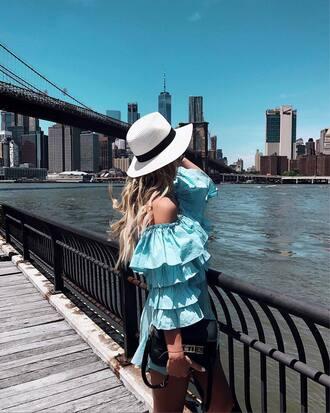 dress hat tumblr ruffle ruffle dress blue dress off the shoulder off the shoulder dress sun hat bag