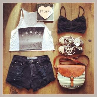 shirt bag black white moon top bralette