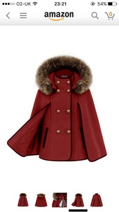 jacket,red fur lined cape coat