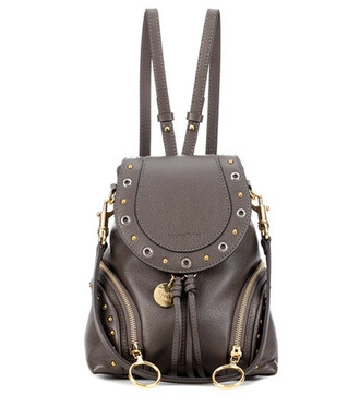 mini studded backpack leather backpack leather brown bag