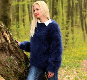 sweater hand knit made mohair supertanya soft fluffy angora alpaca cashmere wool