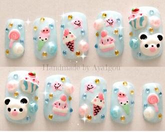nail accessories nails panda korean fashion japanese japanese nails asian cool hipster kawaio