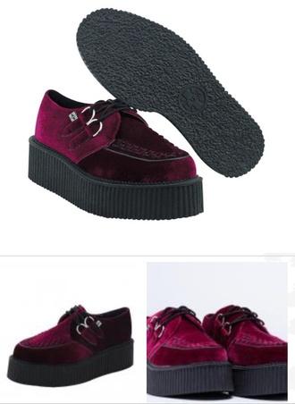 shoes creepers red velvet velvet