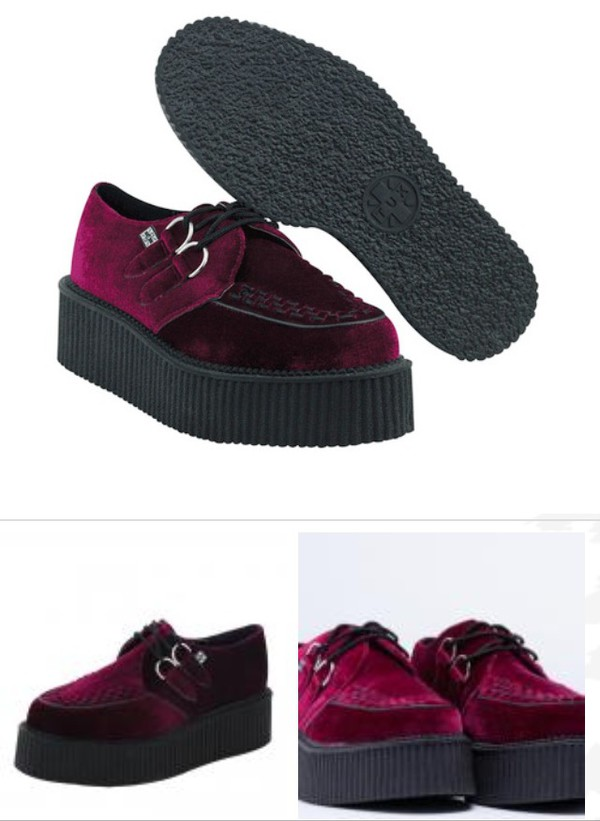 shoes creepers red velvet velvet