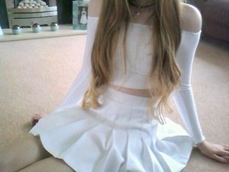 skirt white pleated tumblr