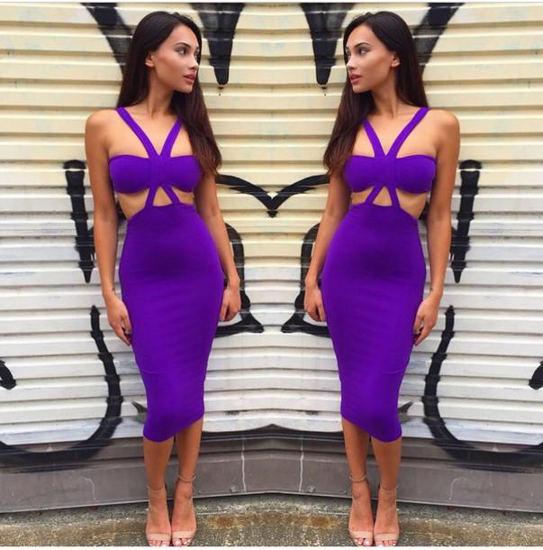 dress purple sexy fashion style purple dress