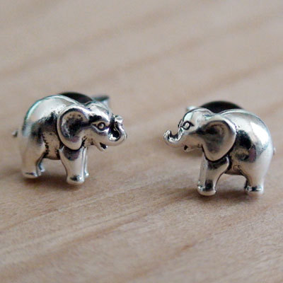 Elephant Earrings - Sterling Silver Post Earrings