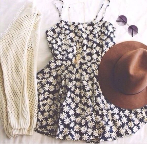 cardigan dress floral dress white cardigan white knitted cardigan flowers little black dress sunglasses floral black black and white hat brown hat sun hat round sunglasses brown sunglasses blouse