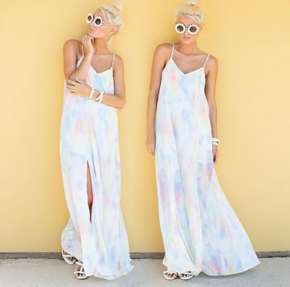 white dress pastel sunglasses cut-out maxi dress
